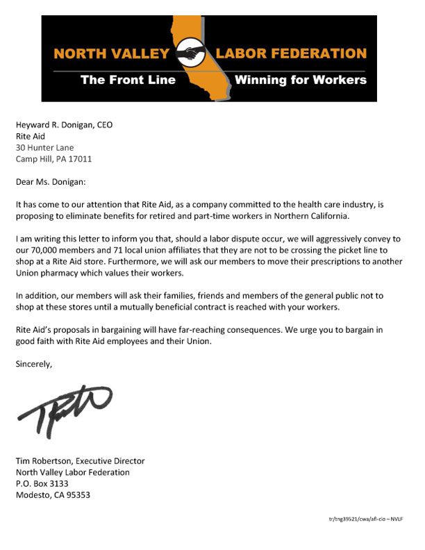 NVLF Letter to Rite Aid CEO 11 2019